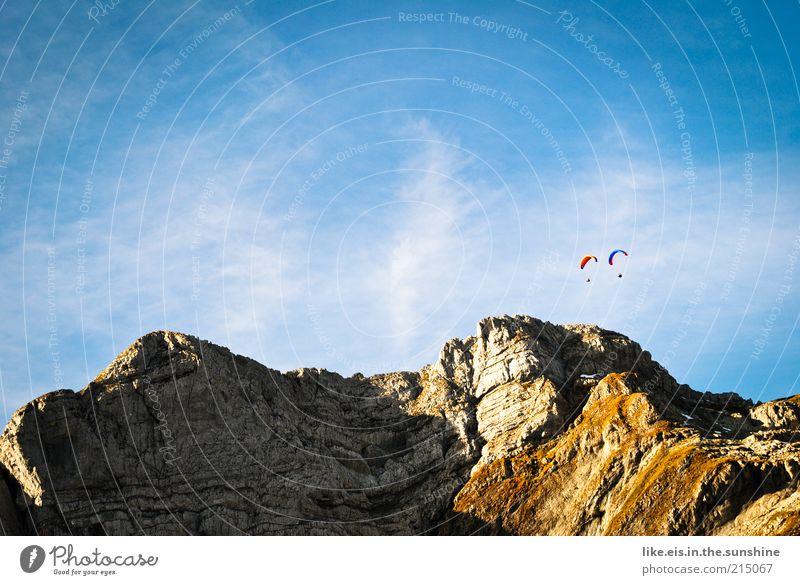 infinite freedom Mountain Couple Partner Life 2 Human being Landscape Air Sky Summer Autumn Beautiful weather Alps Peak Esthetic Free Joie de vivre (Vitality)