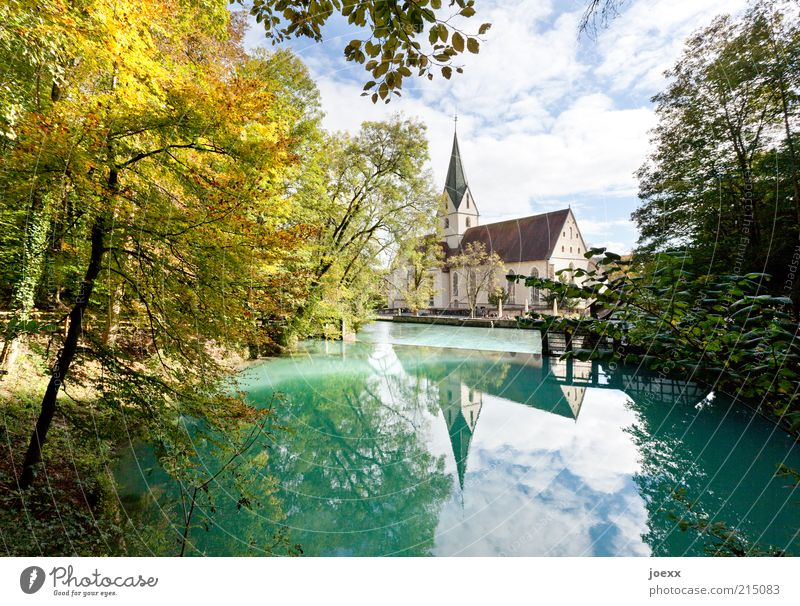 blue pot Nature Sky Beautiful weather Tree Pond Village Church Old Blue Green Calm Source Blautopf Colour photo Multicoloured Exterior shot Day Reflection
