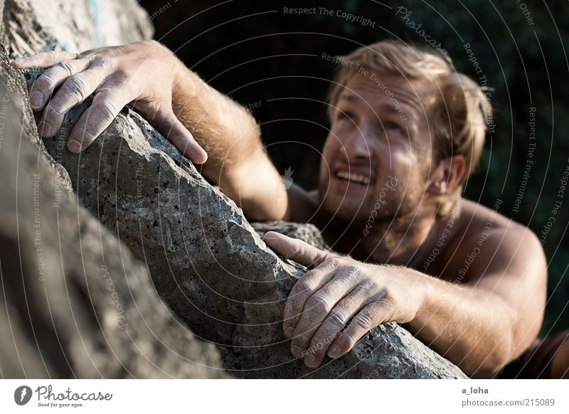 Go Climb A Rock! (II) Lifestyle Summer Sports Climbing Mountaineering Climbing facility Masculine Young man Youth (Young adults) Face Arm 1 Human being Blonde