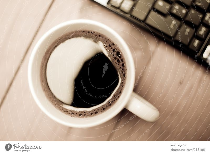 coffee break Cup Wood Glass Break Coffee To have a coffee Coffee break Coffee table Coffee mug Table Wooden table Keyboard Notebook Brown Alert Delicious