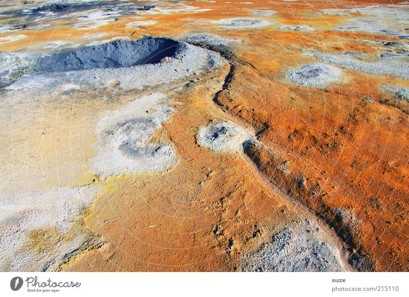 hot spot Environment Nature Landscape Elements Earth Summer Beautiful weather Volcano Exceptional Fantastic Hot Orange Iceland geothermal area Hot springs