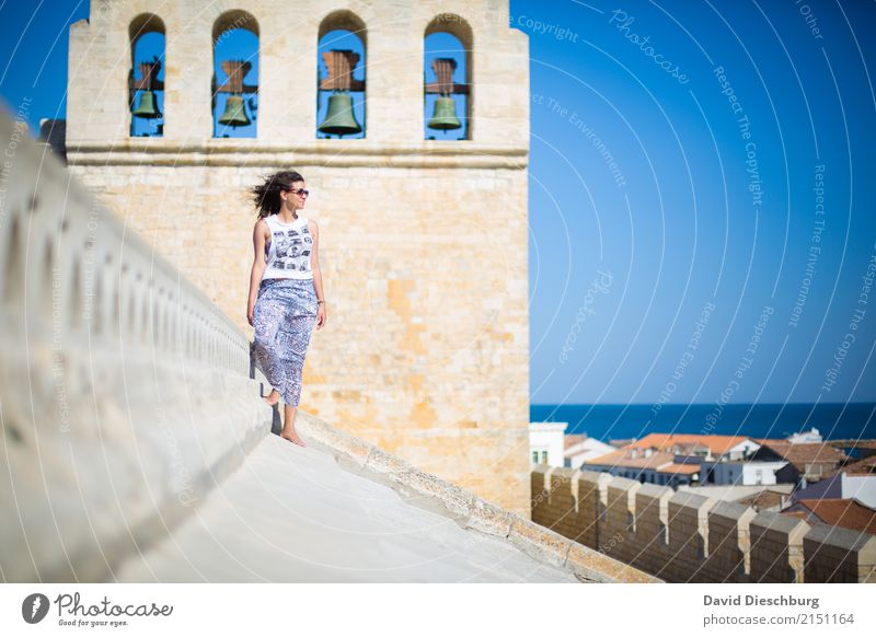 Human being Woman Vacation & Travel Youth (Young adults) Young woman Ocean Relaxation 18 - 30 years Adults Religion and faith Wall (building) Coast Feminine
