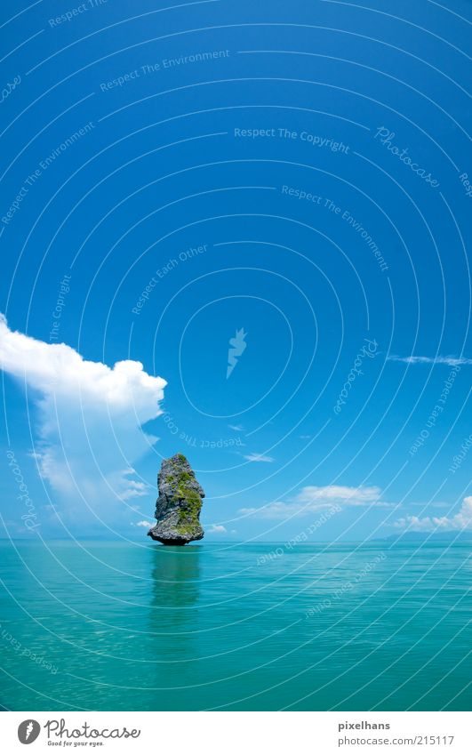 Sky Nature Water Summer Vacation & Travel Ocean Clouds Far-off places Relaxation Landscape Environment Stone Coast Bright Waves Horizon