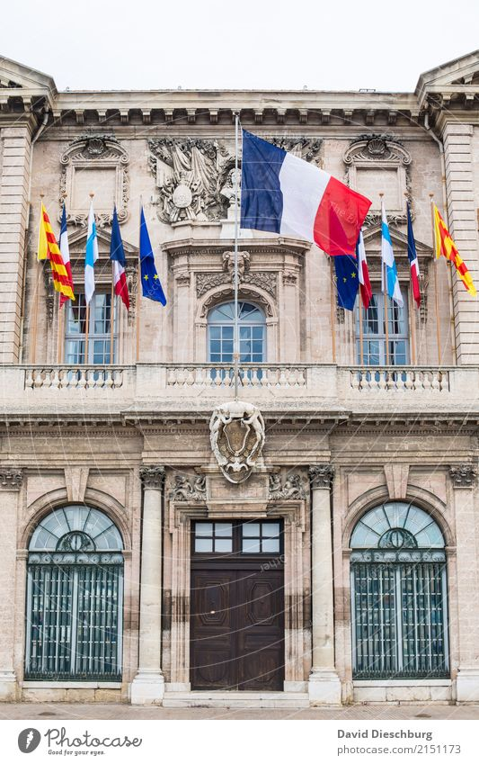 Vacation & Travel Blue Town White Red Window Tourism Facade Door Europe Tourist Attraction France Flag Real estate Sightseeing Politics and state