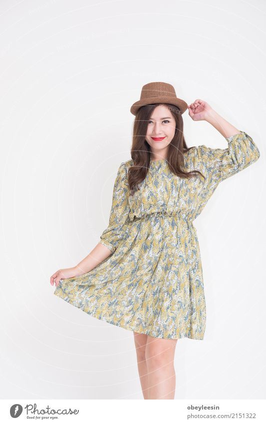 Beautiful young Asian woman with vintage Lifestyle Elegant Style Happy Vacation & Travel Summer Camera Technology Woman Adults Fashion Dress Old Smiling Cute
