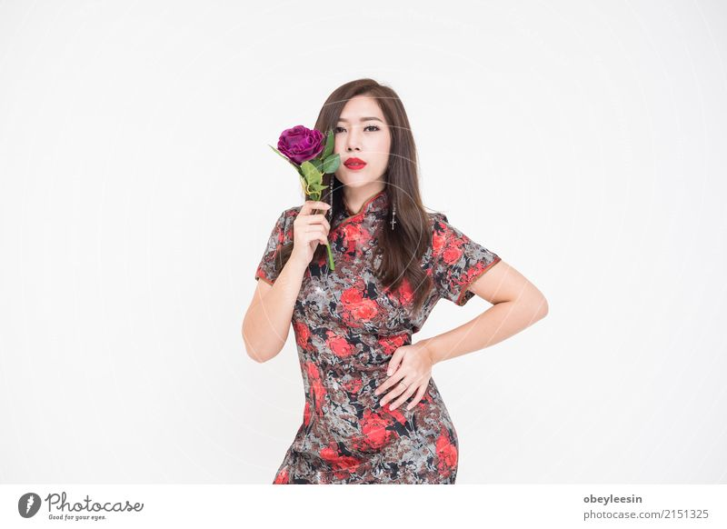 Beautiful young fashionable Asian woman holding flowers Style Joy Happy Face Summer Valentine's Day Wedding Human being Woman Adults Hand Flower Rose Fashion