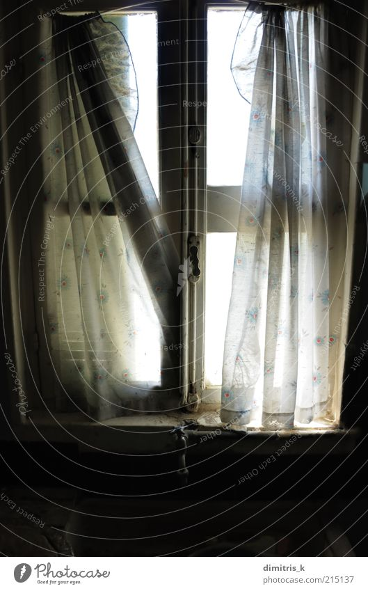 ragged curtains Kitchen Ruin Building Architecture Window Old Dirty Dark Bright Loneliness Time Sink Curtain Ragged Drape light Decay abandoned house interior