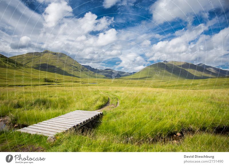 Sky Nature Vacation & Travel Blue Summer Green White Landscape Relaxation Clouds Calm Mountain Spring Meadow Lanes & trails Grass