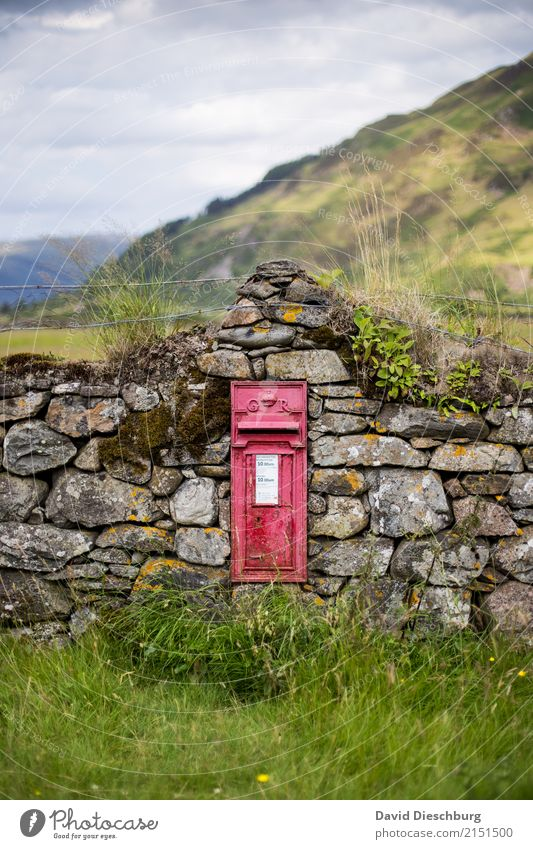 Scottish mailbox Vacation & Travel Adventure Logistics Mail Landscape Sky Clouds Plant Grass Moss Meadow Hill Mountain Stone Bizarre Loneliness Advancement