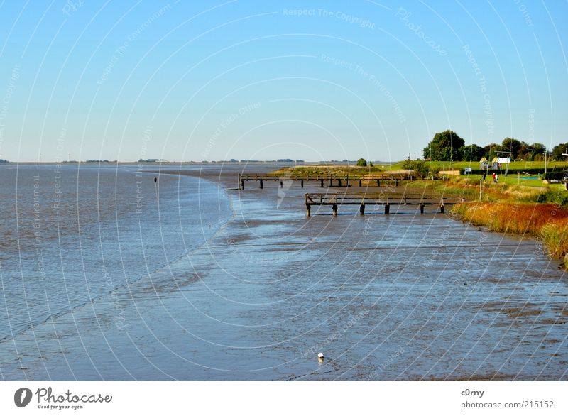 Nature Water Ocean Beach Far-off places Cold Autumn Landscape River Footbridge River bank Blue sky Mud flats Low tide Coast