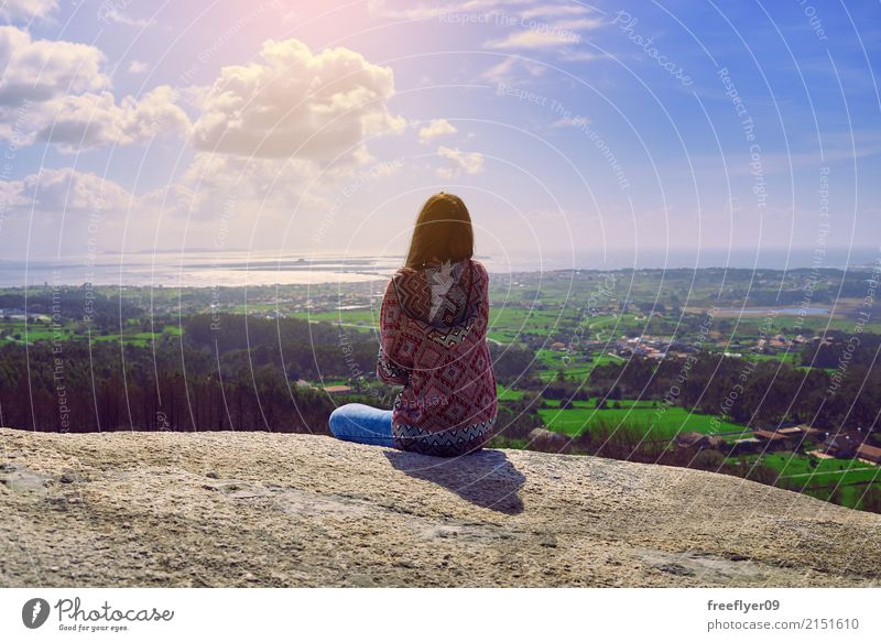 Young woman conteplating the landscape from a rocky mountain in Galicia Vacation & Travel Tourism Trip Adventure Freedom Sightseeing Mountain Hiking Human being