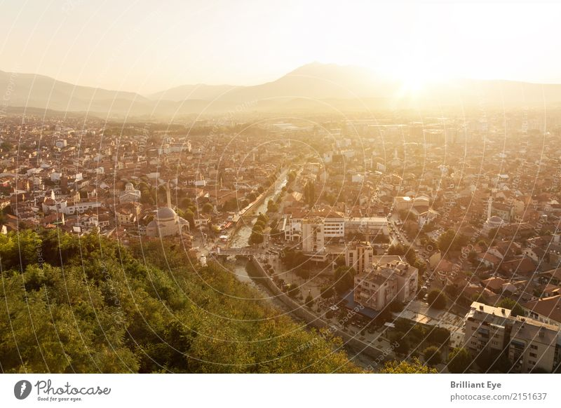 City in the evening light Vacation & Travel Tourism Summer Sunrise Sunset Sunlight Warmth Prizren Kosovo Europe Town Old town House (Residential Structure)