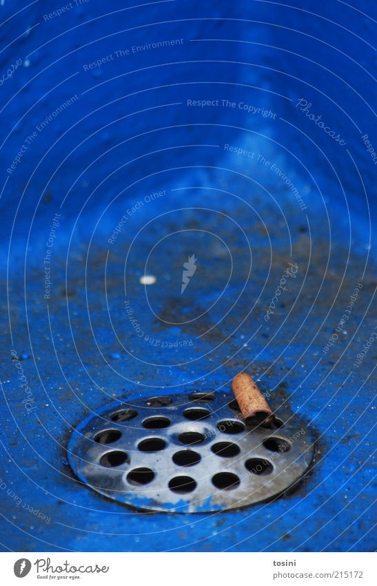 fumed Rust Dirty Blue Cigarette Filter-tipped cigarette Drainage Shaft Hollow Trash Unhealthy Smoking Throw away Corner Colour photo Exterior shot Detail