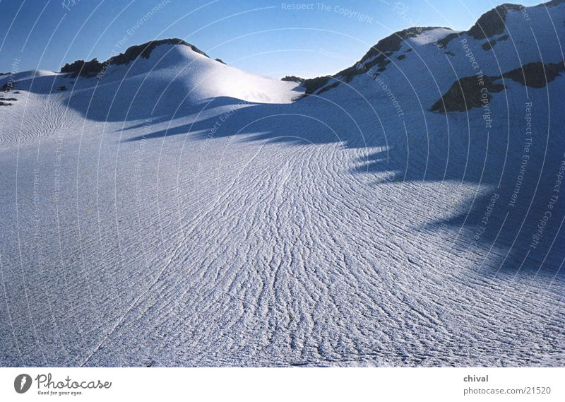 Sun Blue Cold Snow Mountain Ice Tracks Alps Glacier