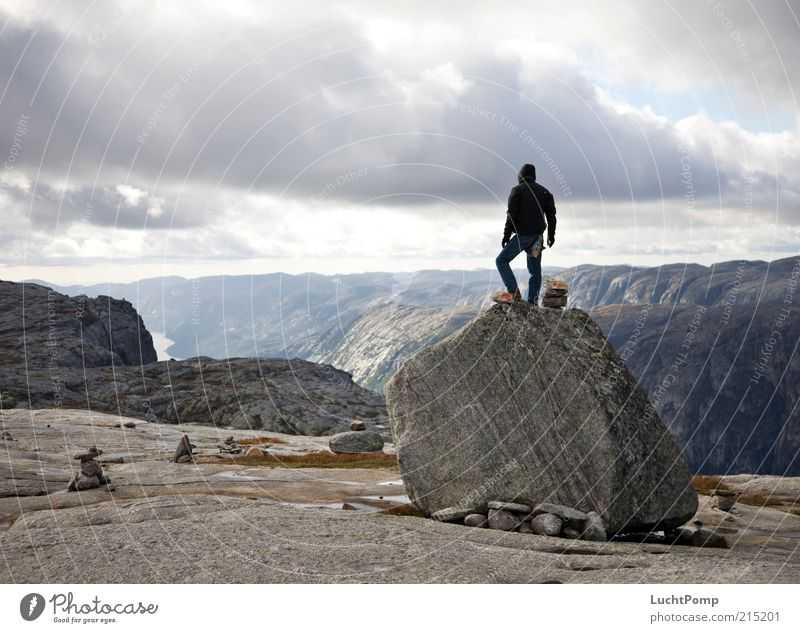 The Guardian Nature Mountain Air Far-off places Freedom Observe Watchfulness Rock Stone Stony Posture Norway Lysefjord Plant Masculine Cold Wind Broken Legs