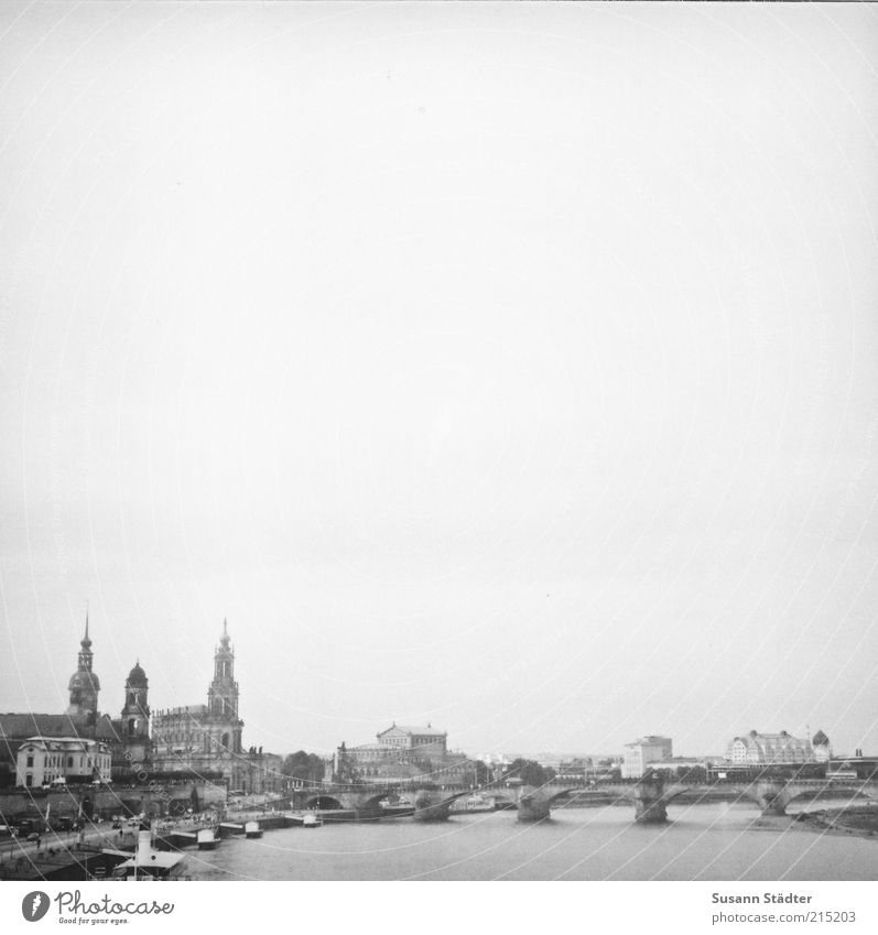 Ringoletto Tourism Sightseeing City trip Summer Downtown Old town Skyline Church Dome Bridge Historic Dresden Elbe Medium format Steamer Semper Opera