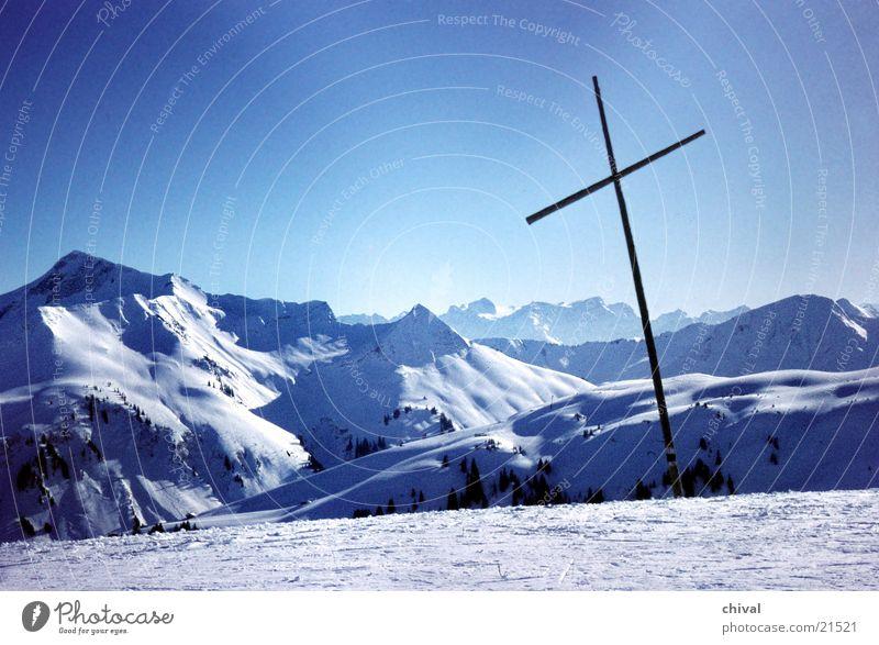 porter horn Panorama (View) Vantage point Peak Mountain Fog Silhouette Back Snow Sun Tracks Large