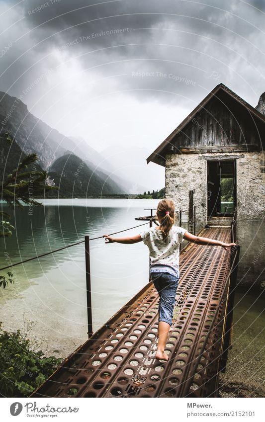 shimmering lake Leisure and hobbies Vacation & Travel Tourism Trip Adventure Summer vacation Mountain Hiking Human being Child 1 3 - 8 years Infancy Dark Lake