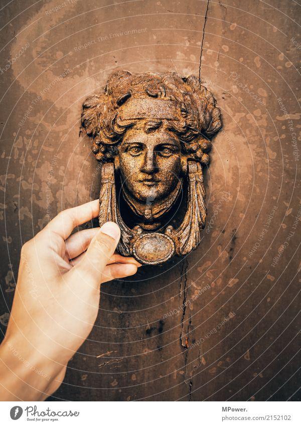 knock knock Human being Face Old town Ruin Door Name plate Bell Historic Beautiful Bronze sculpture Gate Hand Knock at the door Door opener Craft (trade) Rust