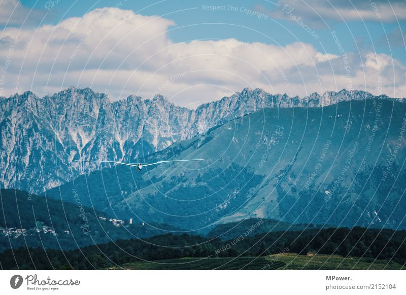 Blue Summer Landscape Environment Transport Aviation Beautiful weather Italy Airplane Peak Alps Snowcapped peak Landing Means of transport Gliding Sailplane
