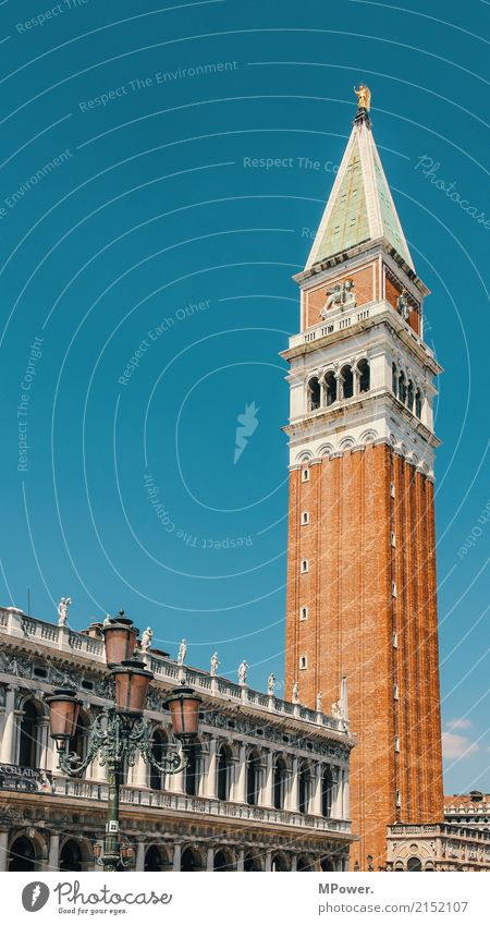 Markustower Downtown Old town Skyline Church Dome Places Facade Historic Tall Beautiful Venice Campanile San Marco Brick Historic Buildings Lantern Blue sky