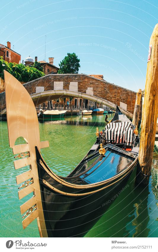 through venice gondola Town Port City Old town Beautiful Venice Gondola (Boat) Bridge Waterway Tourism Turquoise Summer Summer vacation City trip Cliche Taxi
