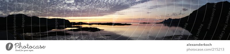 Nature Water Sky Ocean Calm Clouds Landscape Coast Panorama (Format) Fjord Low-key Night Environment Multicoloured Midnight sun