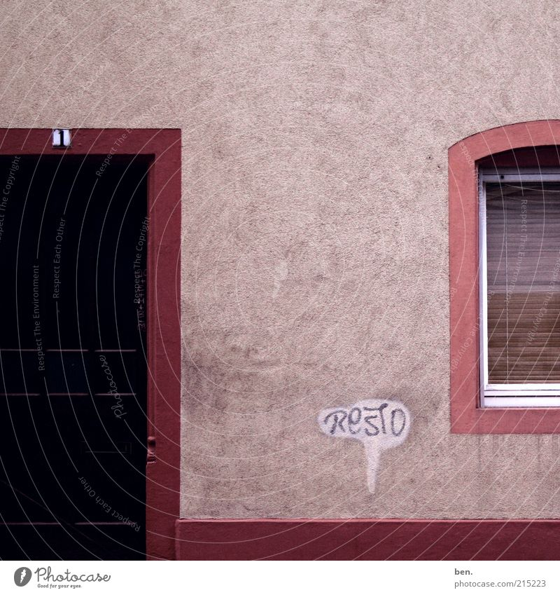 Calm House (Residential Structure) Wall (building) Window Wall (barrier) Building Graffiti Door Facade Gloomy Characters Simple Digits and numbers Sign