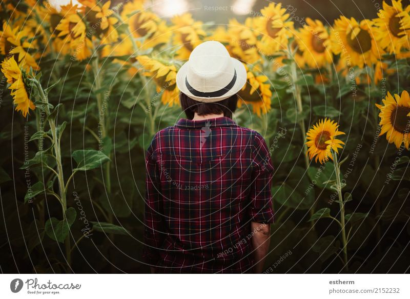 Girl in field of sunflowers Lifestyle Joy Adventure Freedom Human being Feminine Young woman Youth (Young adults) Woman Adults 1 30 - 45 years Plant Field Think