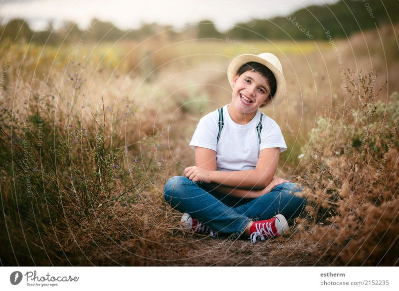 Happy child in the field Human being Child Nature Joy Lifestyle Funny Emotions Meadow Laughter Contentment Masculine Field Infancy Sit To enjoy Happiness