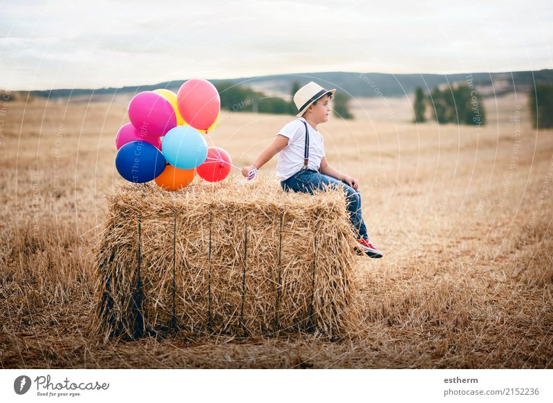Boy with balloons in the field Human being Child Nature Vacation & Travel Summer Loneliness Joy Lifestyle Spring Emotions Meadow Boy (child) Infancy Sit