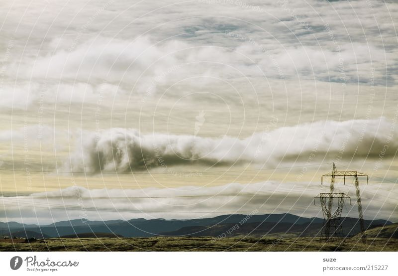Sky Nature Summer Clouds Landscape Environment Horizon Weather Exceptional Earth Electricity Elements Industrial Photography Fantastic Electricity pylon Iceland