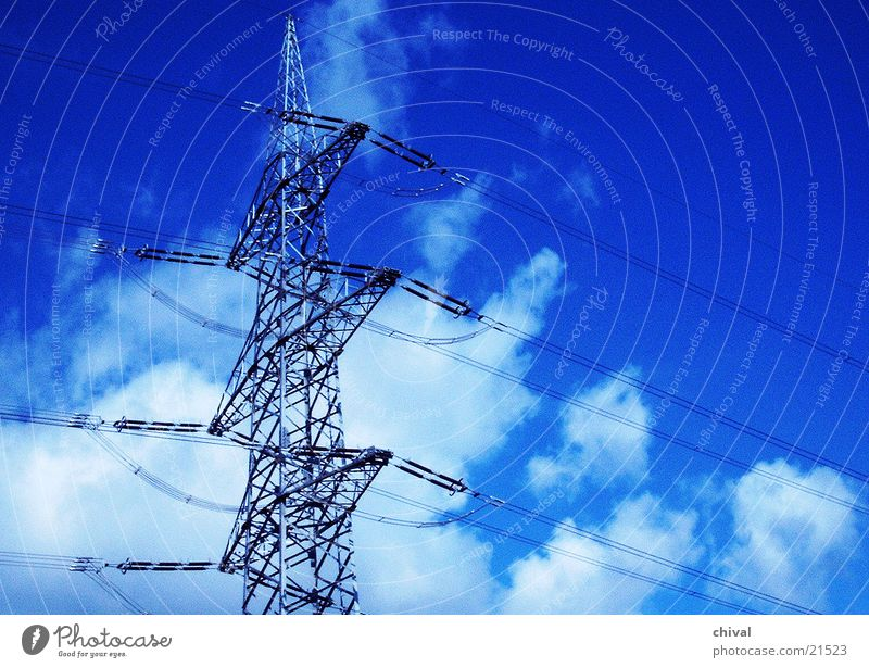 pylon Electricity pylon Clouds Carrier Wire Electrical equipment Technology Sky Blue
