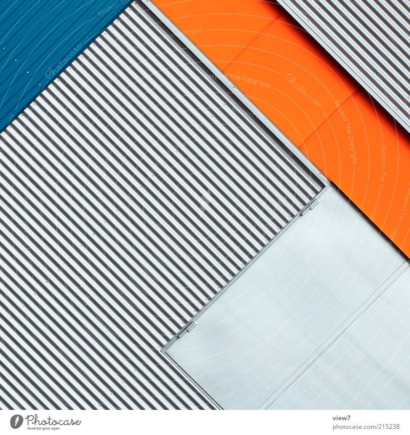 Blue House (Residential Structure) Wall (building) Wall (barrier) Line Orange Metal Architecture Elegant Large Facade Perspective Modern Arrangement Esthetic