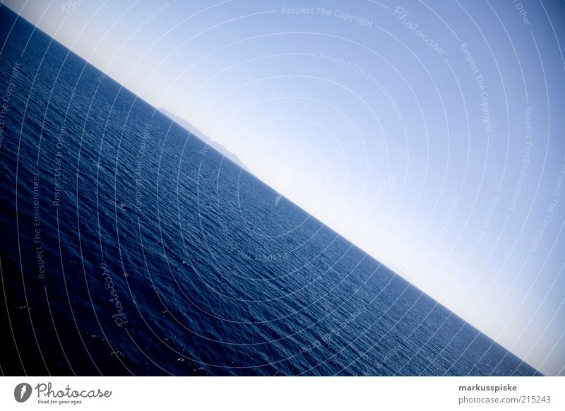 the earth is a disc... Far-off places Freedom Ocean Island Waves Water Cloudless sky Summer Mediterranean sea Corsica Deserted Colour photo Exterior shot