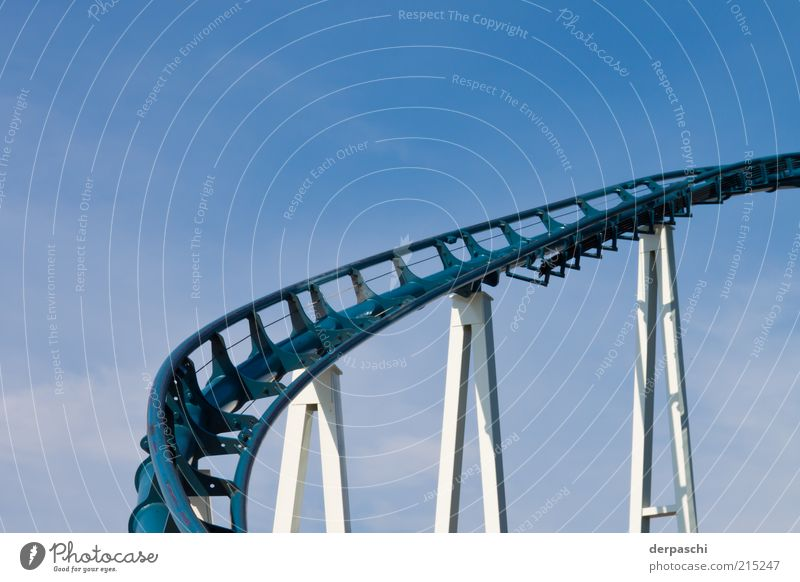 rollercoasterrrrrrr.... Roller coaster Blue Colour photo Exterior shot Deserted Copy Space top Day Light Shadow Steel construction Railroad tracks Distorted