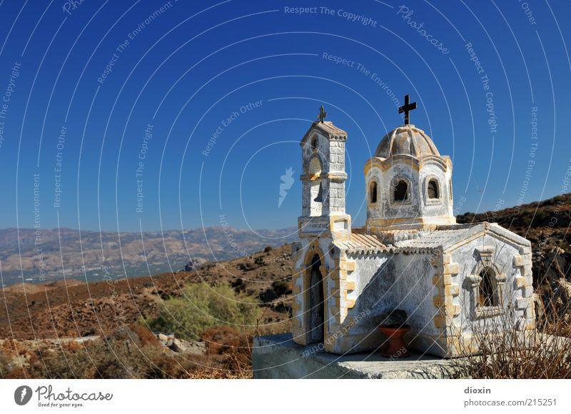 roadchurch Landscape Sky Cloudless sky Weather Beautiful weather macchia Crete Greece Church Stone Crucifix Old Bright Blue Brown White Belief