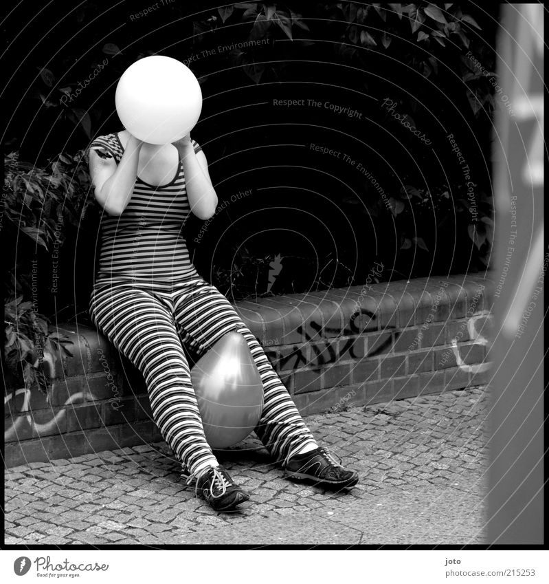? ? ? Feminine Artist Circus Sidewalk Funny Crazy Balloon Anonymous Hide Blow Striped Sit Slapstick Sphere Faceless Trashy Street life Style Punk Pattern