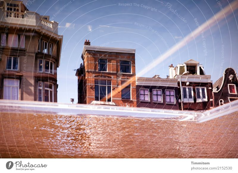 an instant... Vacation & Travel Sightseeing Sky Amsterdam Netherlands House (Residential Structure) Boating trip Looking Blue Brown Reflection Irritation