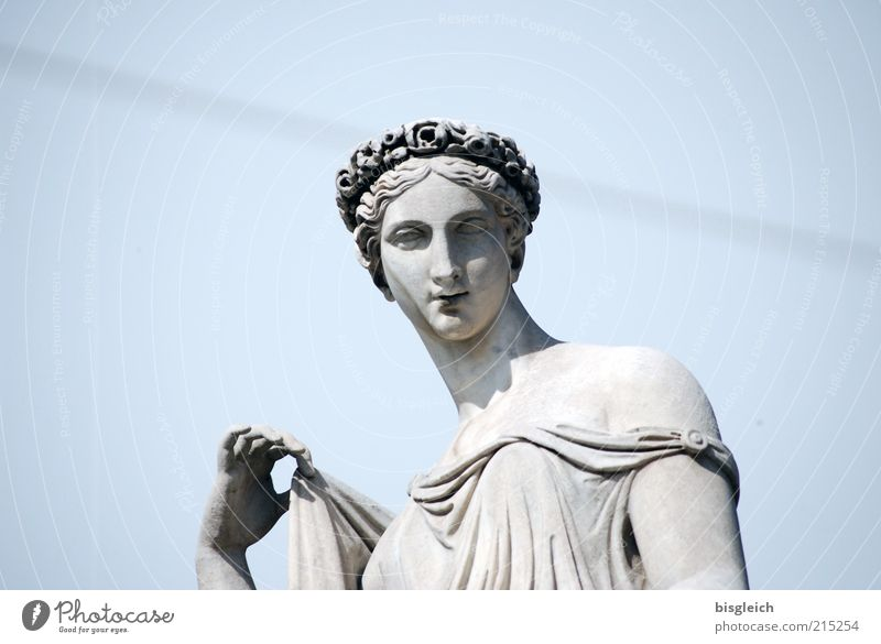 Human being Hand Youth (Young adults) Beautiful Sky White Blue Feminine Head Stone Adults Elegant Europe Italy Statue Sculpture