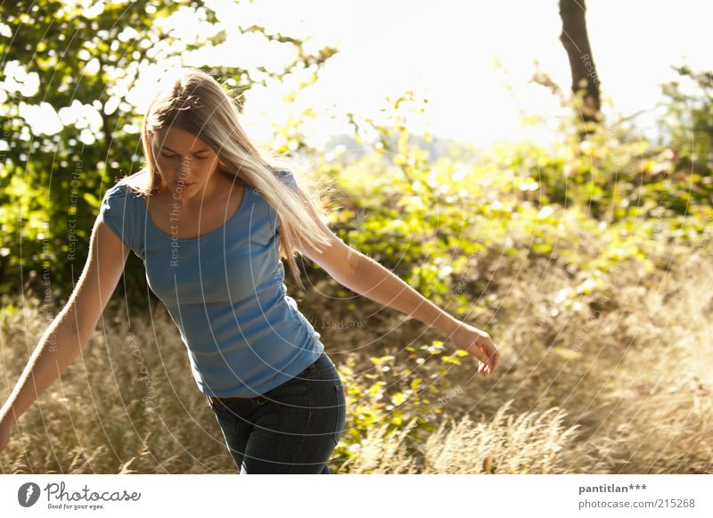Human being Woman Nature Youth (Young adults) Green Beautiful Summer Plant Calm Young woman Forest Face Adults Warmth Feminine 18 - 30 years