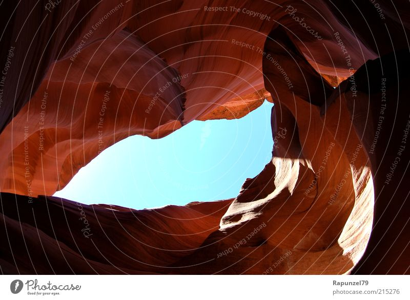 ray of hope Nature Sky Rock Canyon Blue Brown Colour photo Exterior shot Day Shadow Worm's-eye view Antelope Canyon Vista Esthetic Cave Sandstone Rock formation