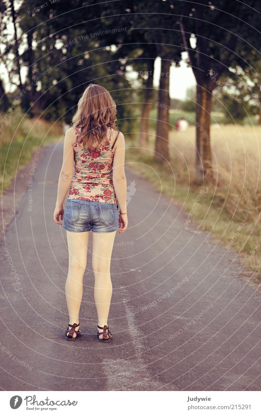 White.legs Calm Summer Hiking Human being Feminine Young woman Youth (Young adults) 18 - 30 years Adults Environment Nature Field Street Lanes & trails Jeans