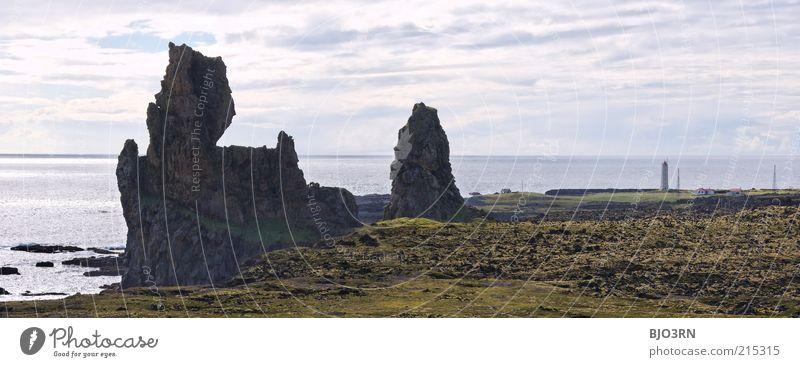 Unequal Twins | Iceland Landscape Elements Water Sky Clouds Horizon Beautiful weather Rock Coast Ocean Island malarrifsviti Snæfellsnes Europe