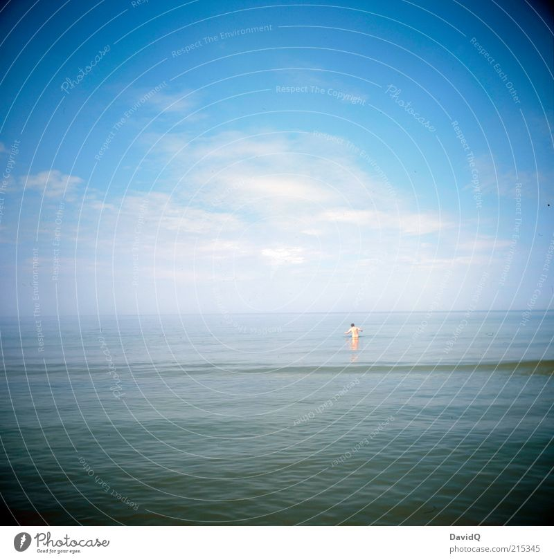 Human being Sky Man Blue Summer Joy Clouds Adults Far-off places Coast Horizon Waves Swimming & Bathing Masculine Beautiful weather Baltic Sea