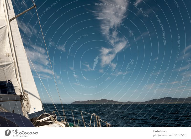 out Sailing trip Nature Landscape Air Water Sky Clouds Summer Beautiful weather Hill Rock Mountain Coast Ocean Atlantic Ocean Yacht Sailing ship Railing