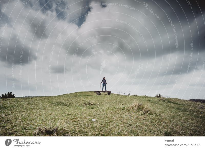 Human being Sky Nature Landscape Relaxation Loneliness Clouds Calm Far-off places Adults Lifestyle Grass Exceptional Freedom Above