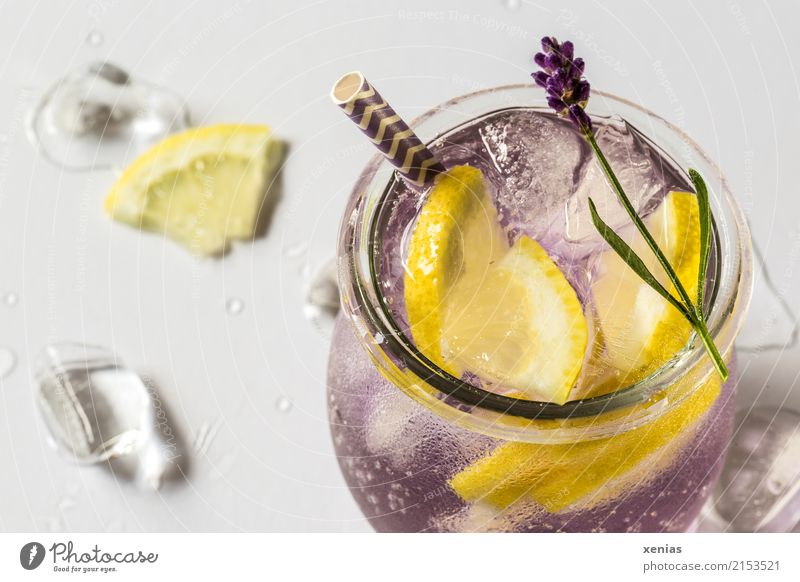 Iced detox drink with lavender and lemon Fruit Herbs and spices Lemon Lavender Ice cube Organic produce Vegetarian diet Diet Beverage Cold drink Drinking water
