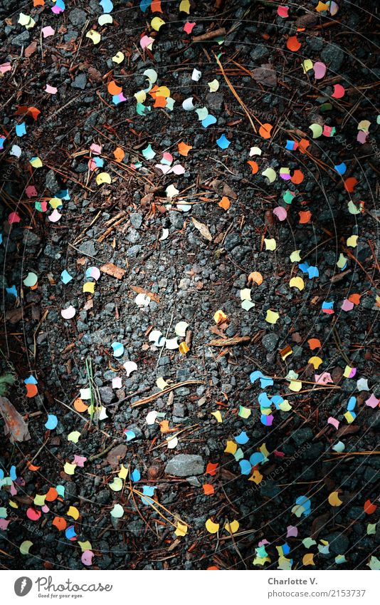 The party's over Joy Party Feasts & Celebrations Carnival Paper Confetti Stone Point Lie Illuminate Blue Multicoloured Yellow Pink Red Black Turquoise Moody