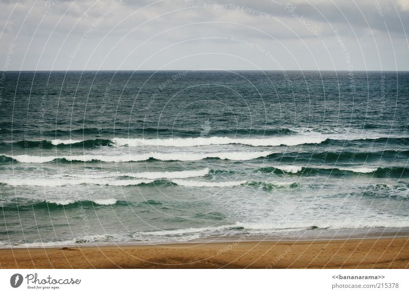 Atlantic Vacation & Travel Summer Beach Ocean Atlantic Ocean Water Sea water Waves Sand Horizon Far-off places Colour photo Exterior shot Copy Space top Day